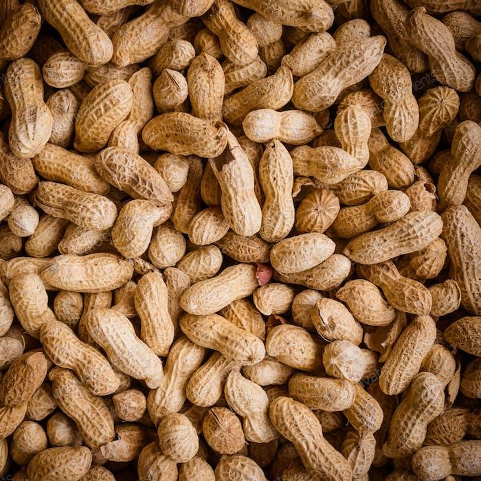 Peanuts  background.  Raw peanuts.  Many peanuts in shells