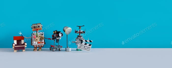 Robotic filmmaking backstage concept. Two robots shoots motion picture television episode or movie