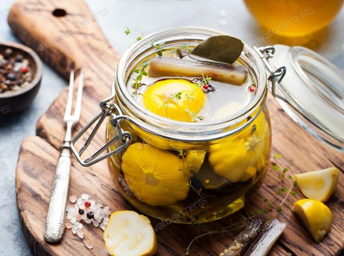 Marinated yellow pattypan summer squash, eggplant