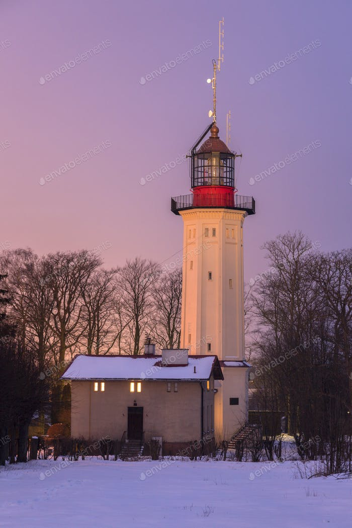 Lighthouse in Rozewie at sunset