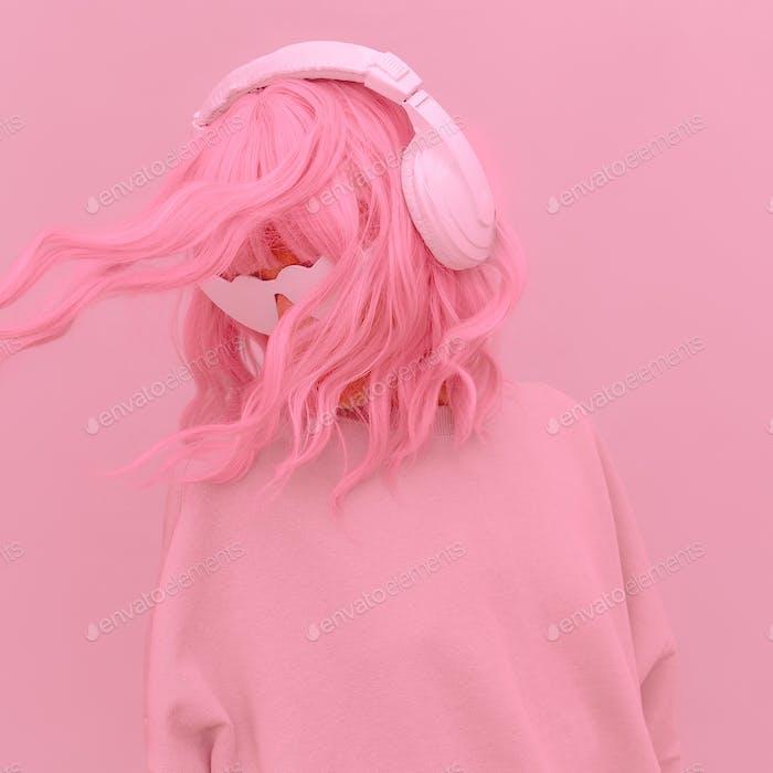 Vanilla Pink Dj Girl. Monochrome Party style. Stylish headphones, music lover concept