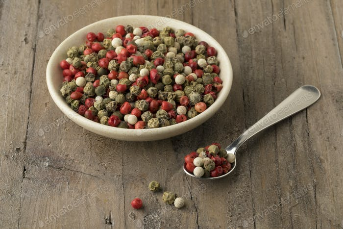 Bowl with a mixture of red,white and green peppercorn