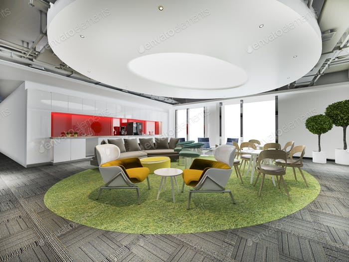 colorful business co working space and meeting and kitchen pantry on high rise office building