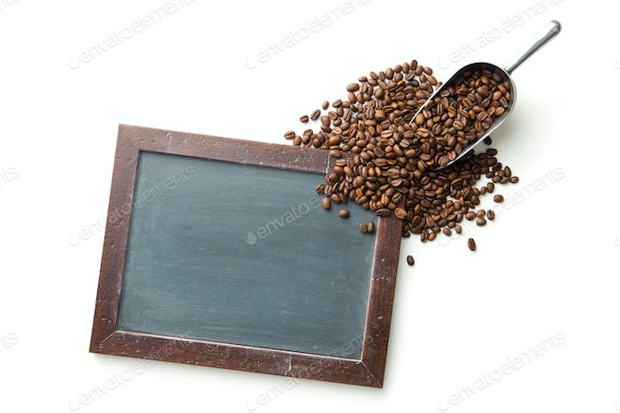 Chalkbooard and coffee beans.