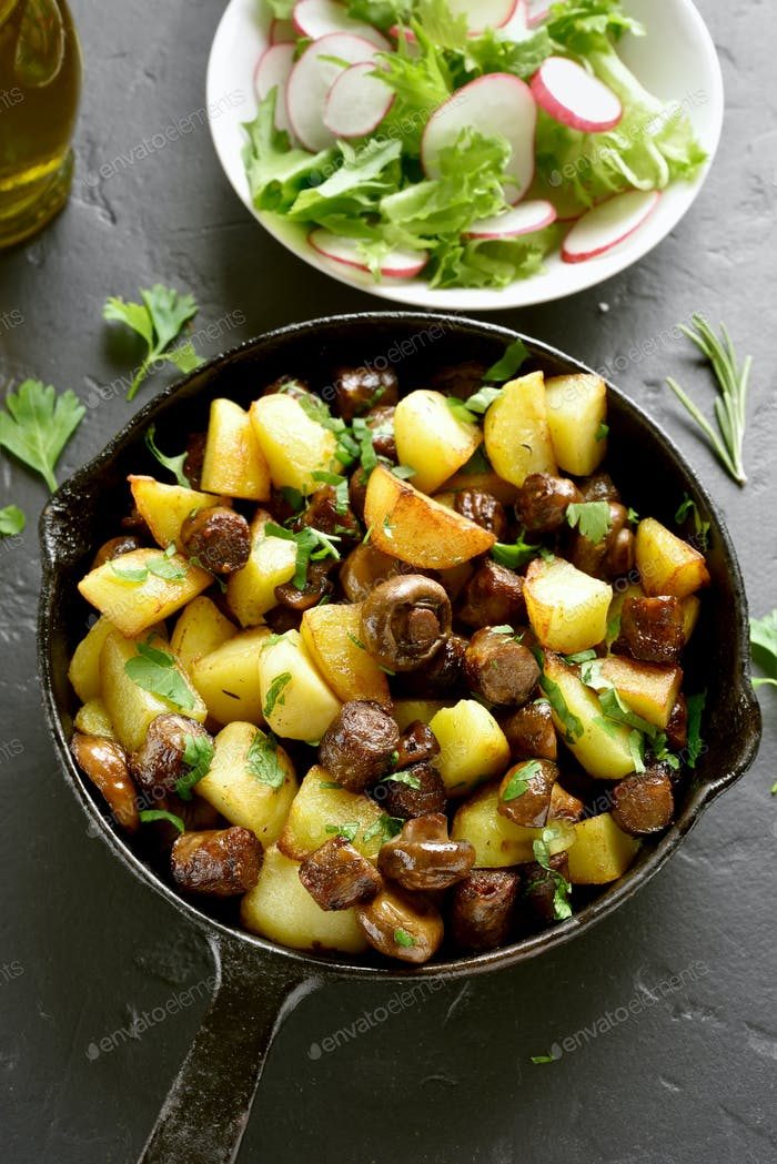 Fried potatoes with mushroom and sausage