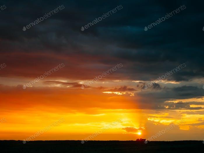 Sunrise Sky Background. Natural Bright Dramatic Sky In Sunset Da