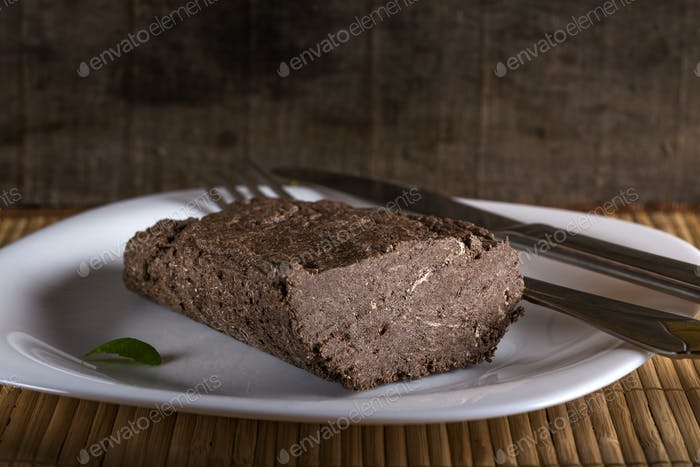 Halvah on white plate