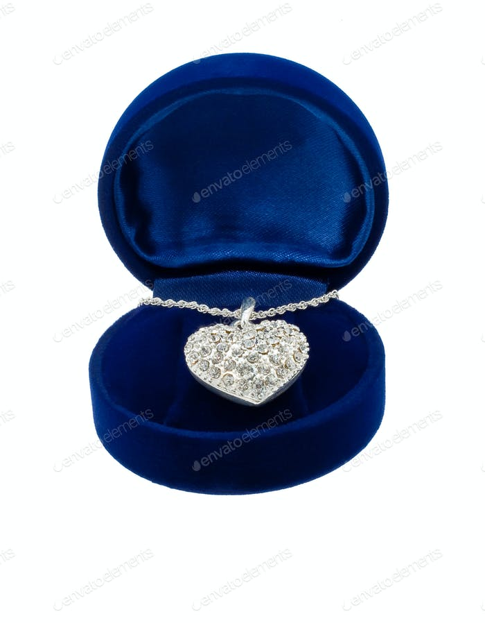 Chain with a brooch in form of heart in blue present box