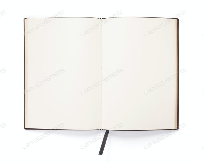 open notebook or book isolated at white
