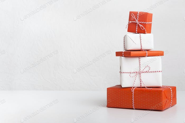 Gift boxes packed in craft colored paper