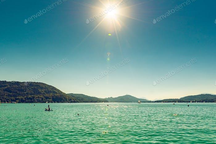 Lakeside Holidays. Great lake Klagenfurt am Worthersee. The large lake of Klagenfurt in Austria