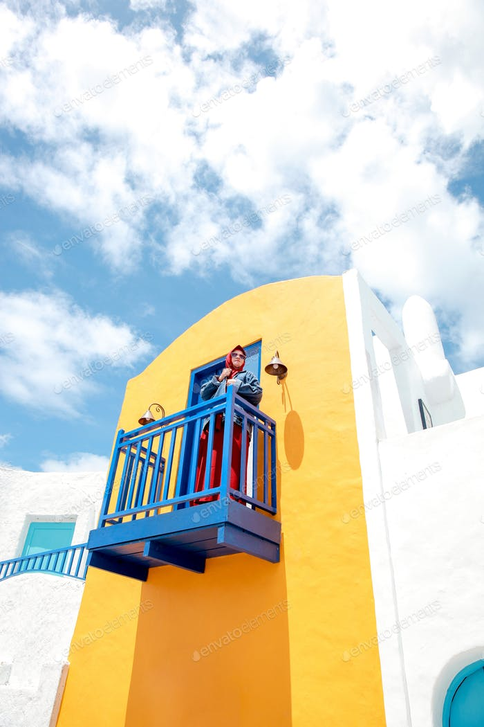 Woman at balcony