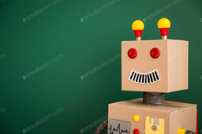 Toy robot in school