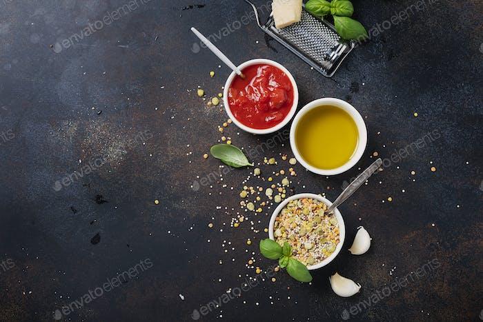 Zutaten für Kochind vegetarische Mischung von Hülsenfrüchten