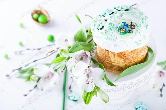Festive traditional Easter pastries. Kulich.