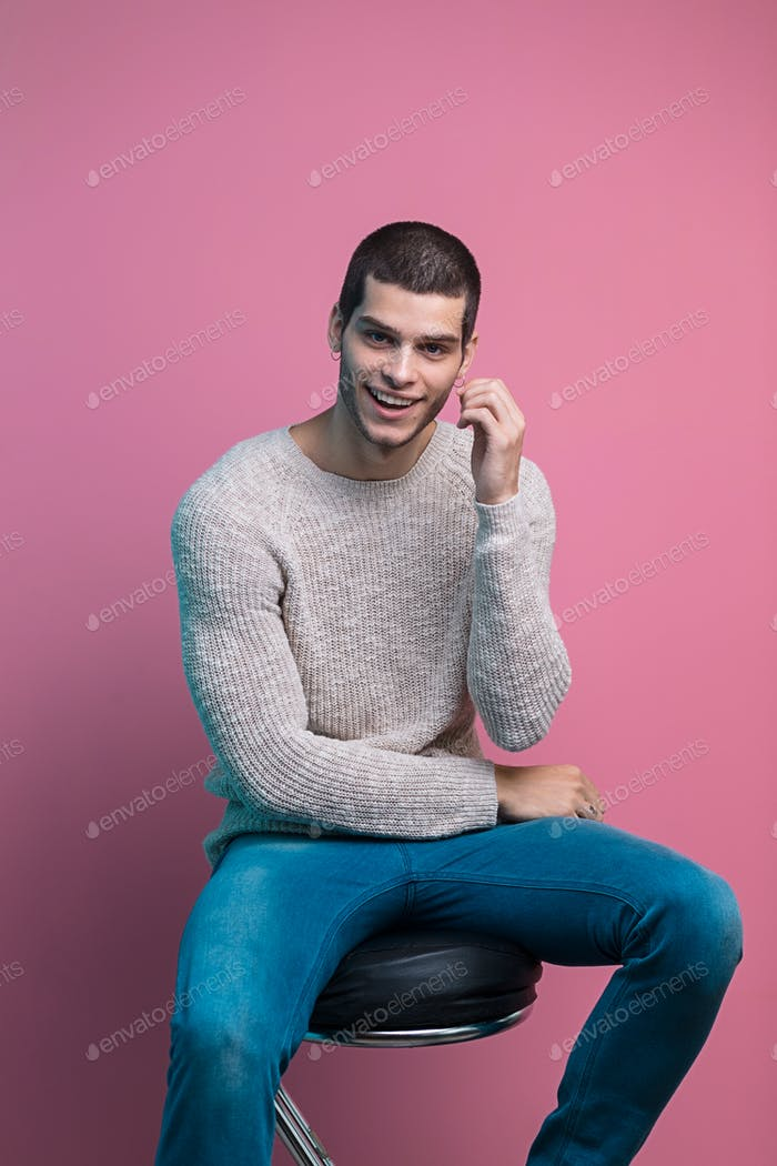 Handsome man studio portrait