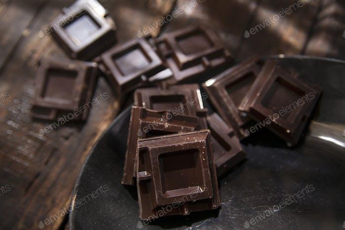 Cubes of dark chocolate