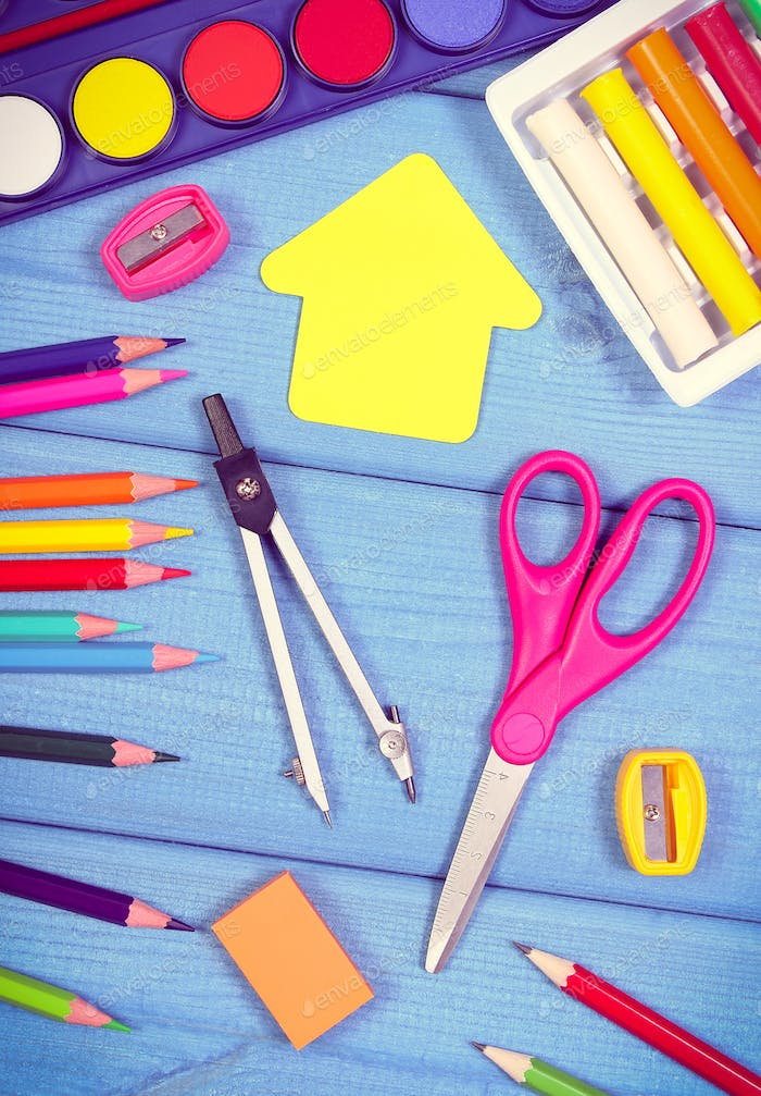School and office accessories on boards, back to school concept