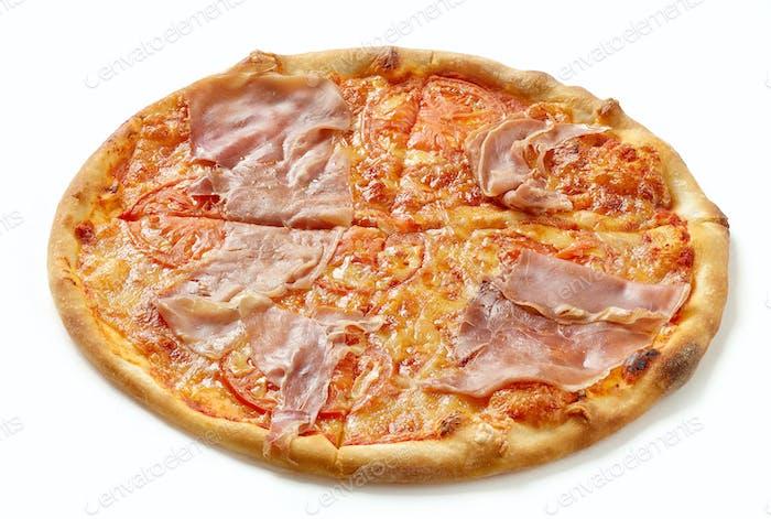 Ham and tomato pizza