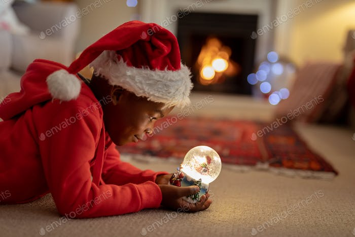 Boy at home at Christmas time