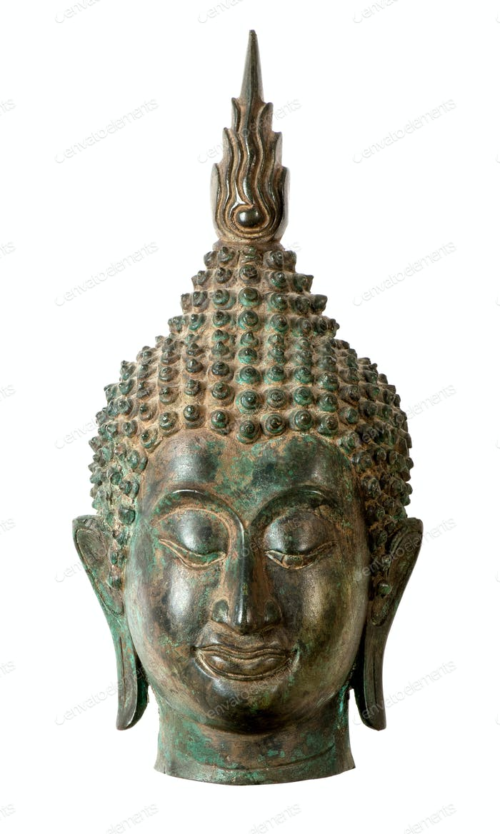 Buddha head sculpture on white