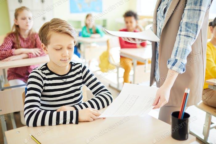 Getting school test back