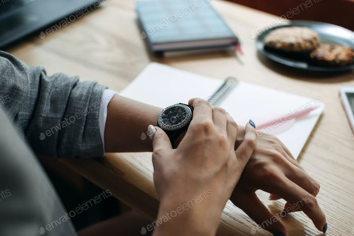 Time management, planning, Stop Wasting Time, use time productively and efficiently. Woman looking
