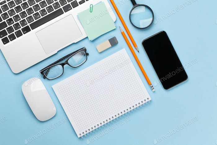 Business desk workplace and office objects
