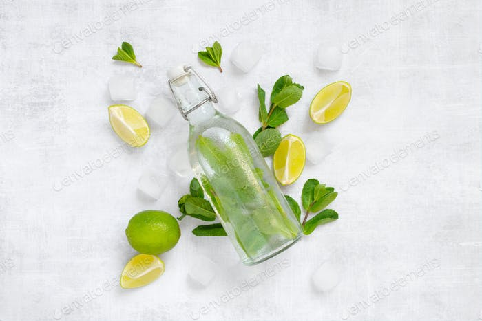 Infused water with mint, lime and ice cubes