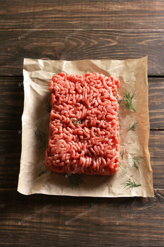 Minced meat on paper