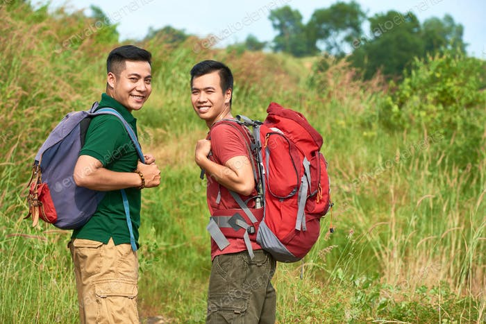 Travelers with backpacks