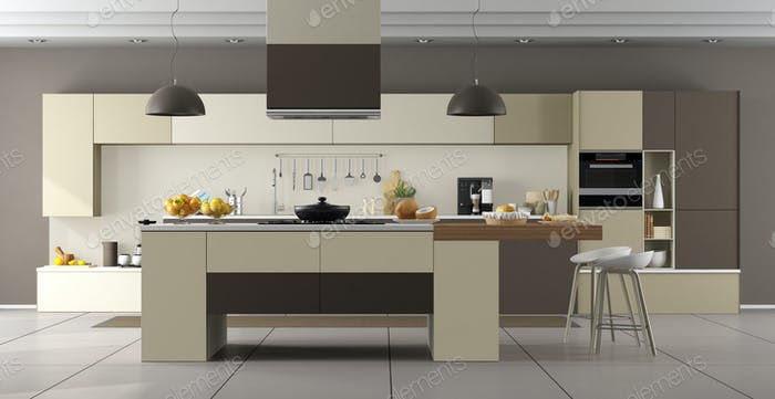 Modern beige and brown kitchen with island - 3d rendering