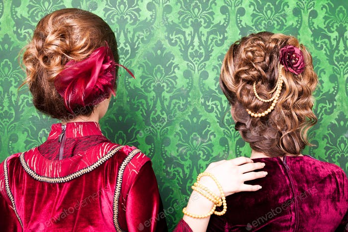 Hairstyle in vintage style on retro pattern background