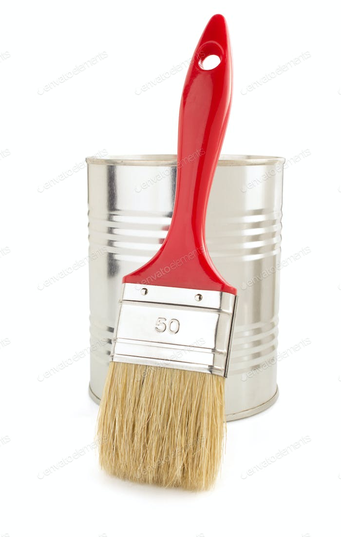 paint bucket and paintbrush on white