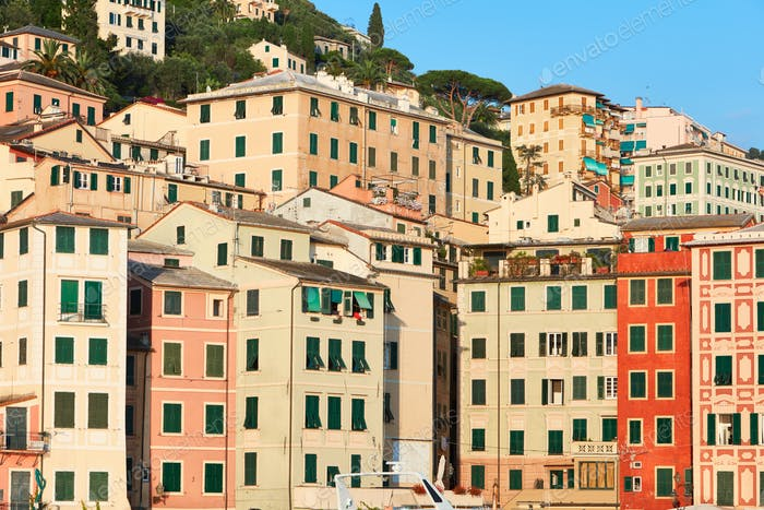 Camogli typical village with colorful houses in Italy, Liguria