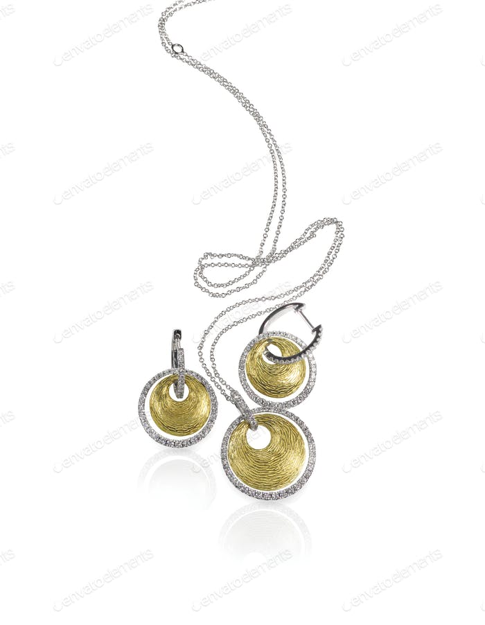 Diamond white and yellow gold fashion necklace and earrings set