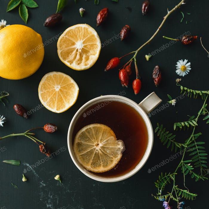 Thumbnail for Rosehip herbal tea flt lay top view