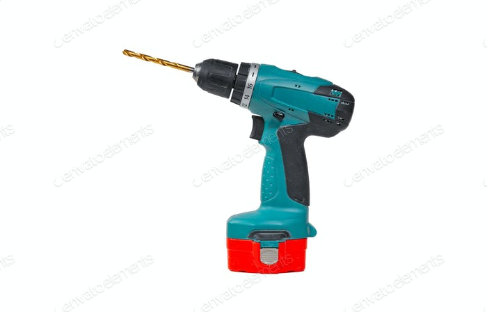 Cordless drill and a drill isolated on a white background
