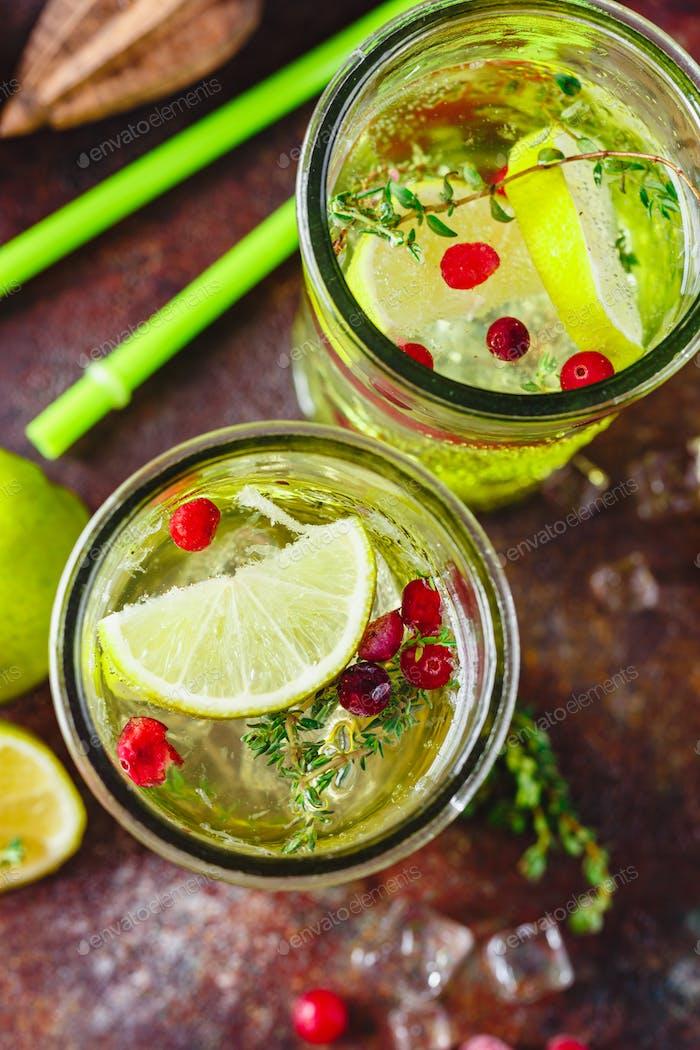 Limonade mit Thymian, Cranberry und Eis.