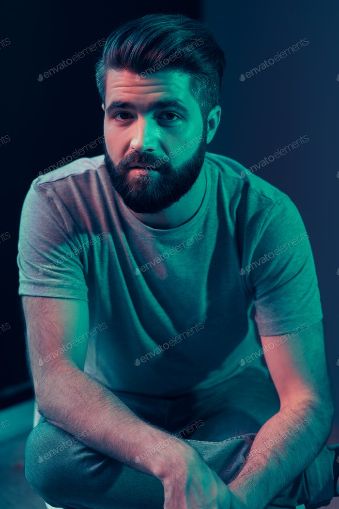 Neon portrait of a young attractive man