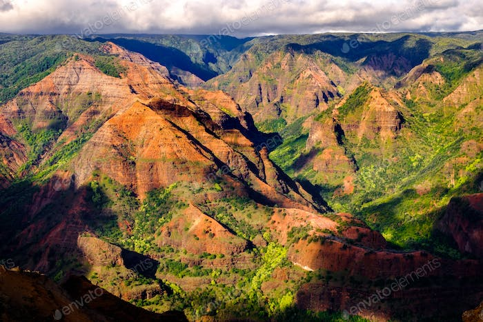 Landscape view of Waimea canyon in daylight with shadows, Kauai