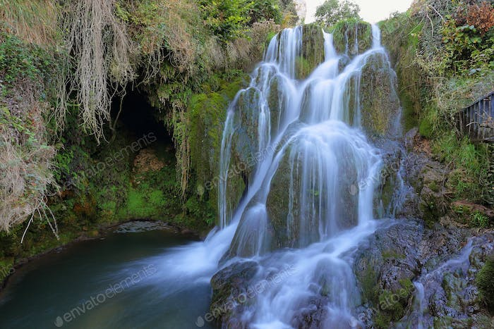 Silky waterfall in Tobera village, Burgos, Spain.