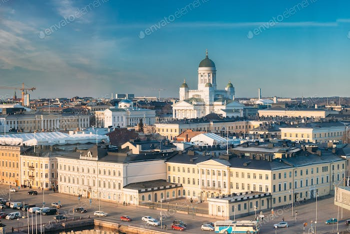 Helsinki, Finland. Aerial View Street With Presidential Palace A