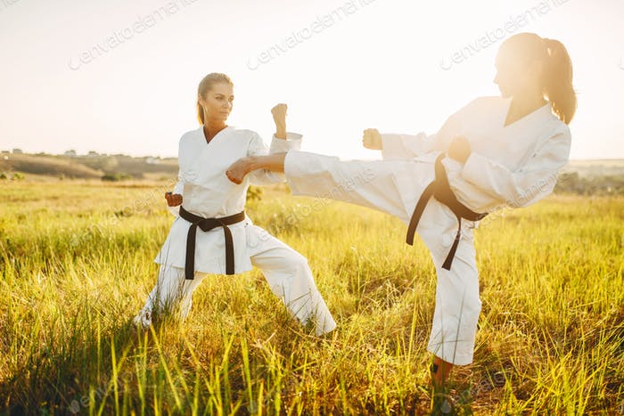 Two female karate in kimono training combat skill