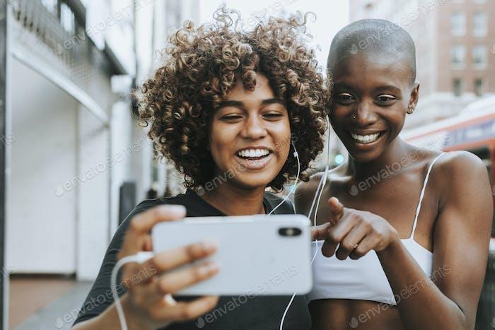 Cute girls making a video call