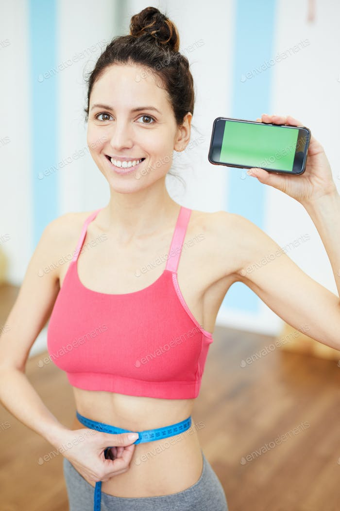 Woman Presenting Weightloss App