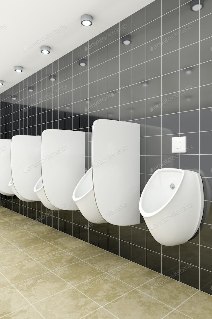 a public restroom with urinals row