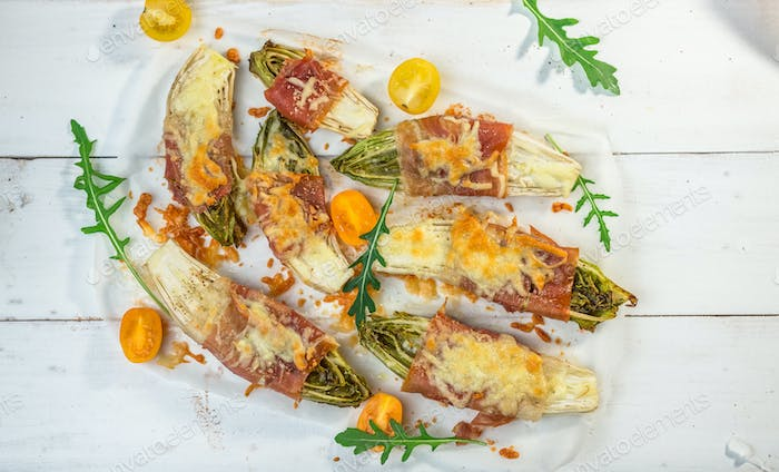 Roasted witlof with prosciutto and  mozzarella