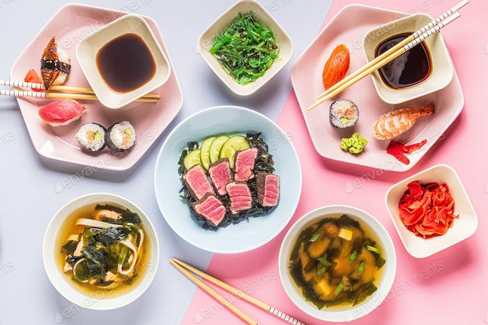 Table with traditional japanese food.