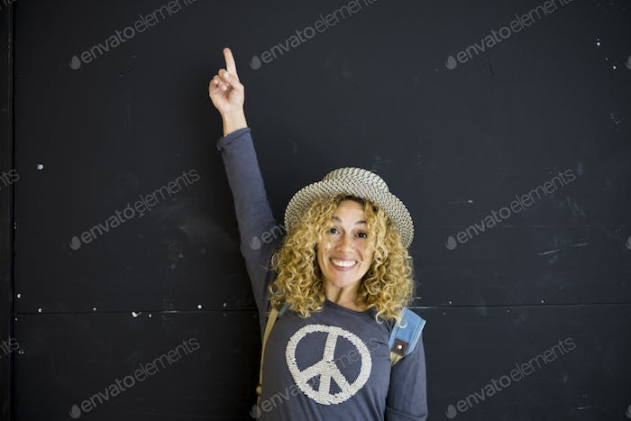 Cheerful happy concept portrait with joyful blonde adult woman smile